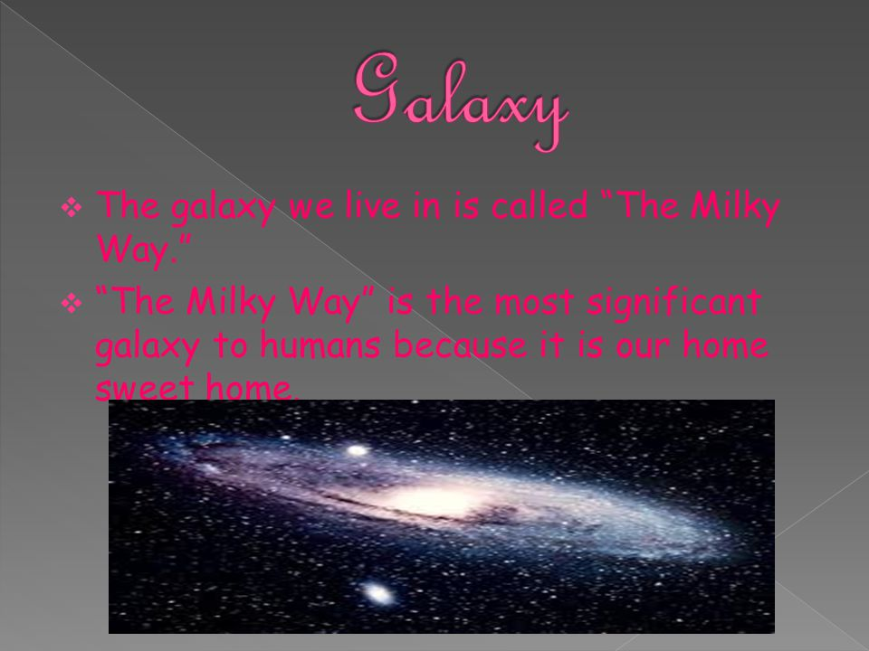 Galaxy The galaxy we live in is called The Milky Way.