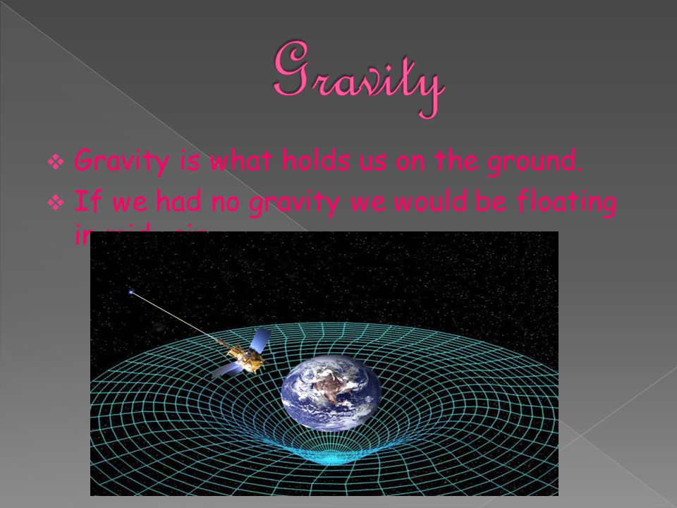 Gravity Gravity is what holds us on the ground.