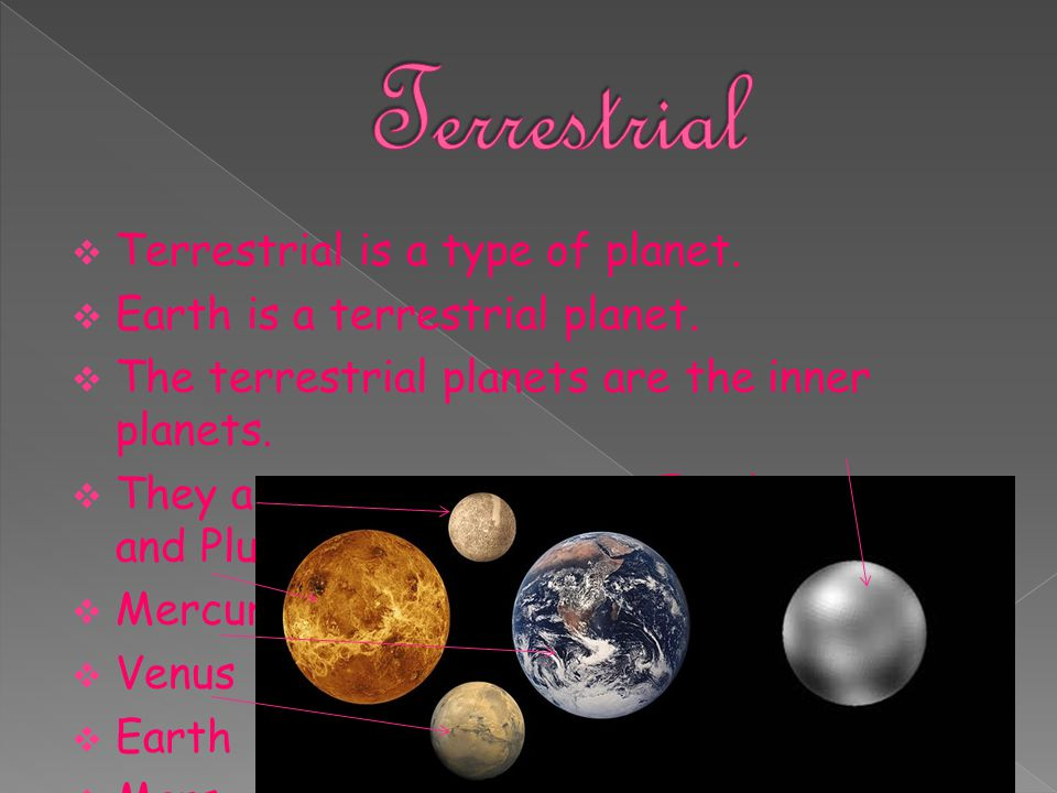 Terrestrial Terrestrial is a type of planet.
