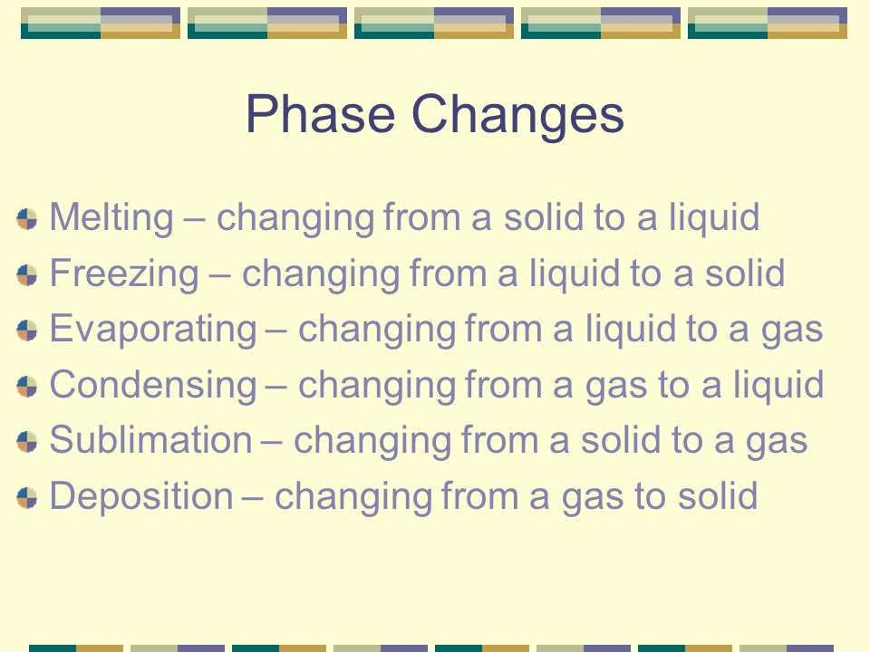 Phase Changes Melting – changing from a solid to a liquid