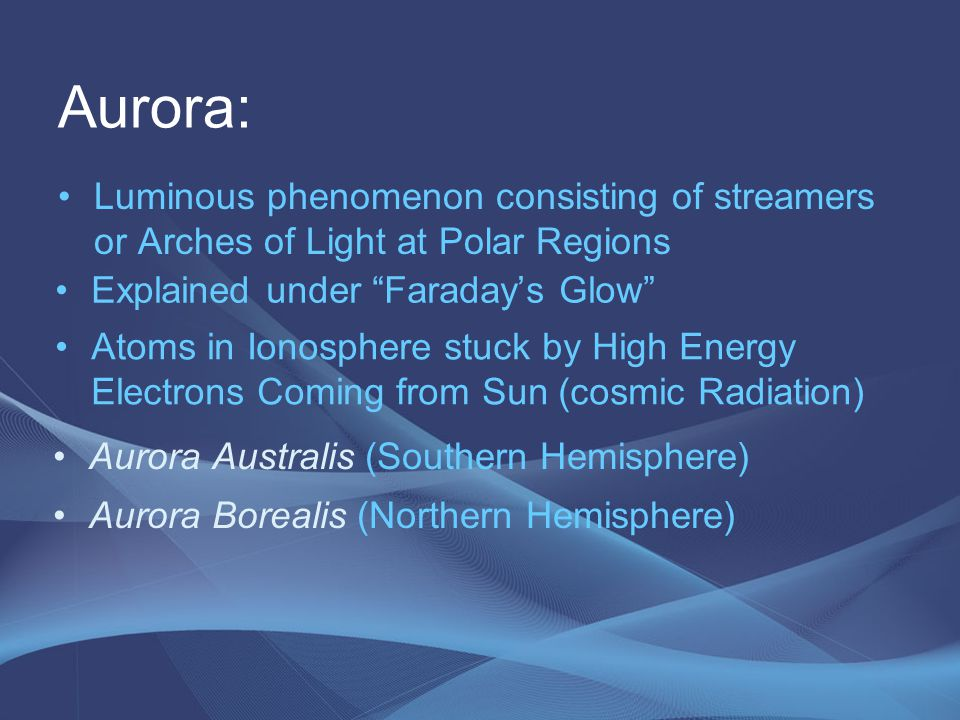 Aurora: Luminous phenomenon consisting of streamers or Arches of Light at Polar Regions. Explained under Faraday's Glow