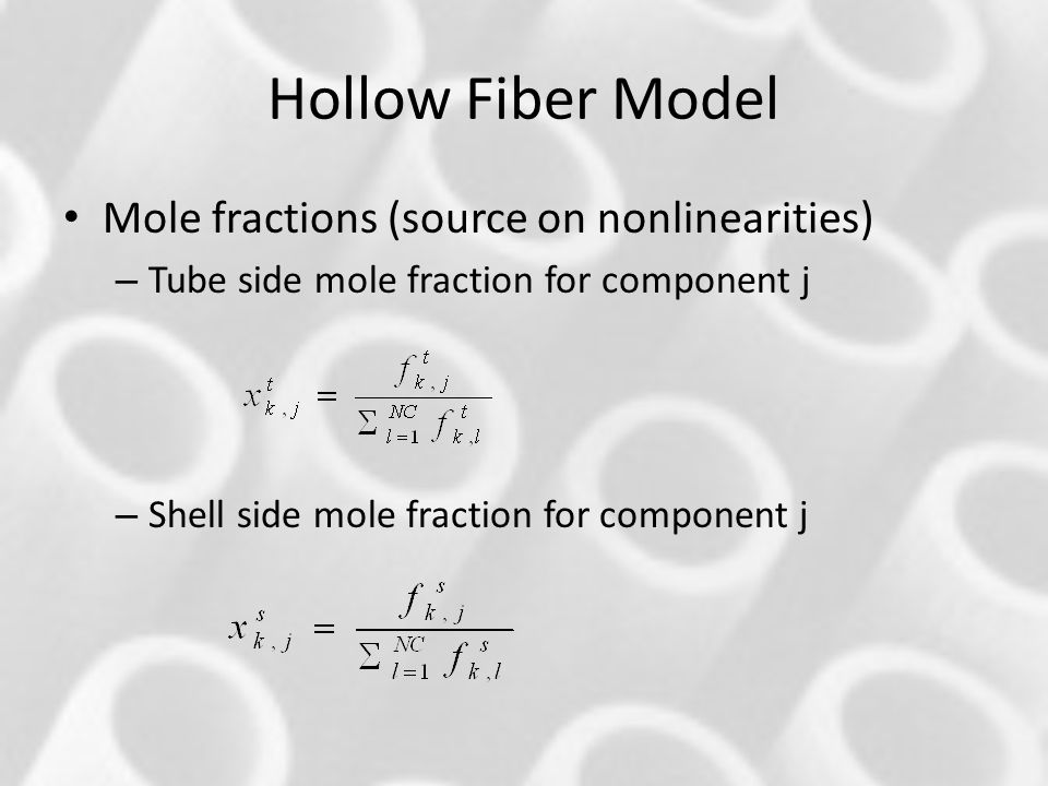Hollow Fiber Model Mole fractions (source on nonlinearities)