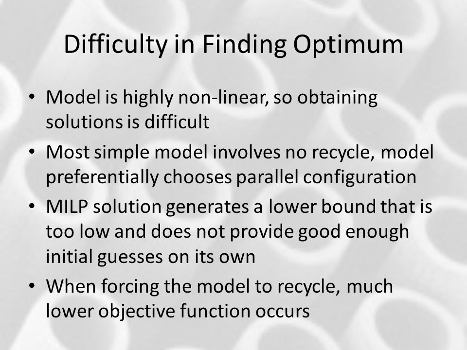 Difficulty in Finding Optimum
