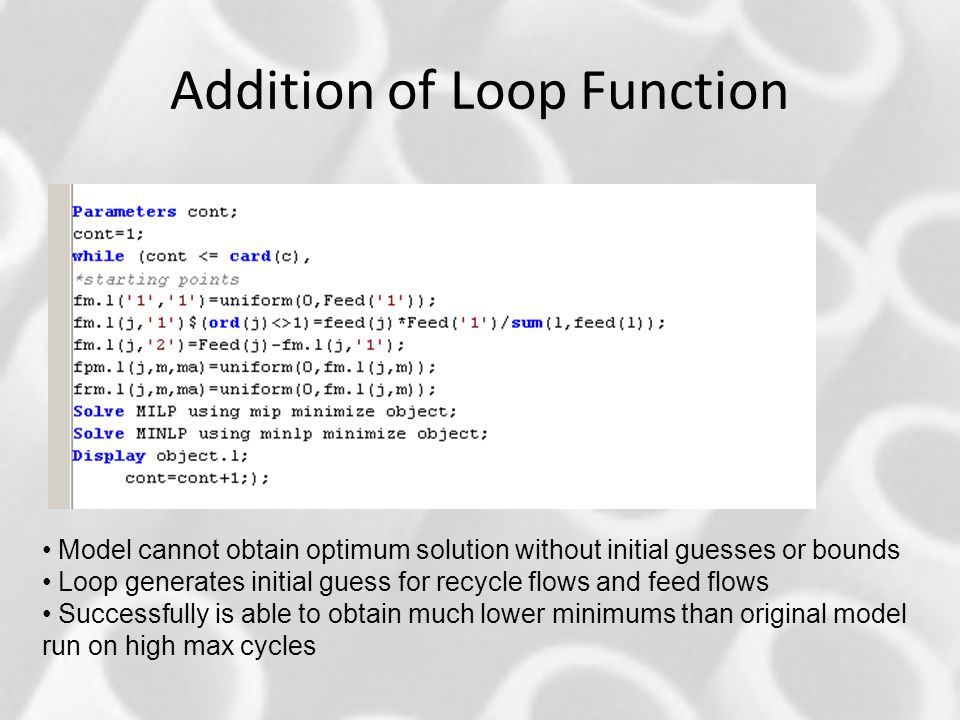 Addition of Loop Function