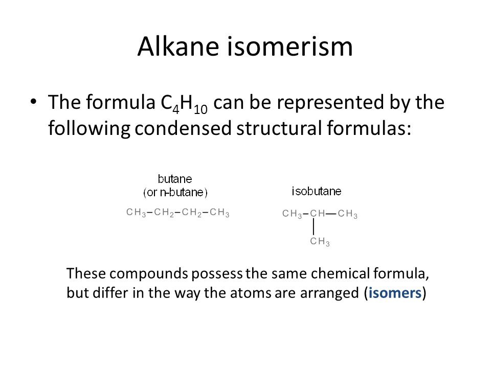 Alkane isomerism The formula C4H10 can be represented by the following condensed structural formulas: