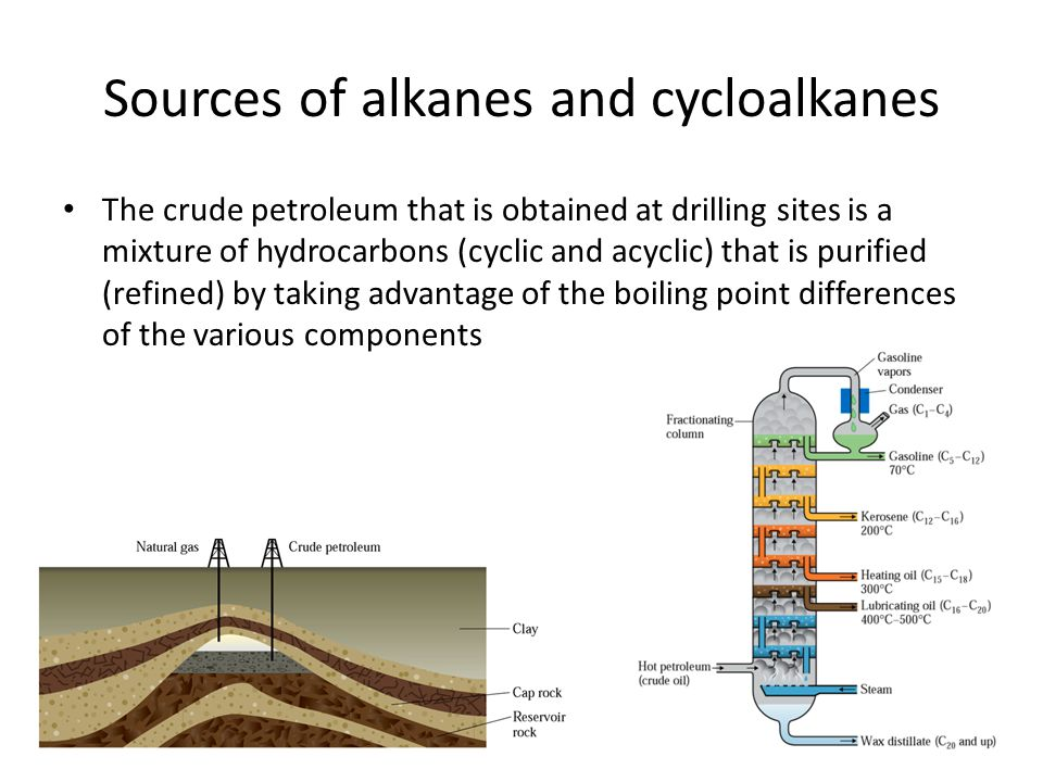 Sources of alkanes and cycloalkanes