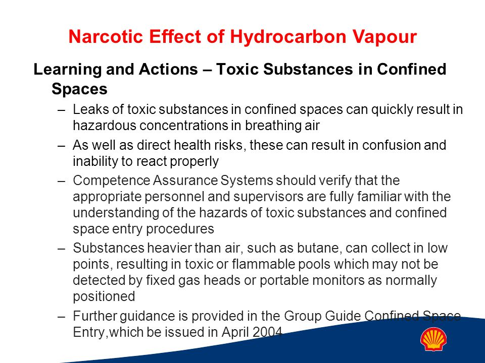Learning and Actions – Toxic Substances in Confined Spaces