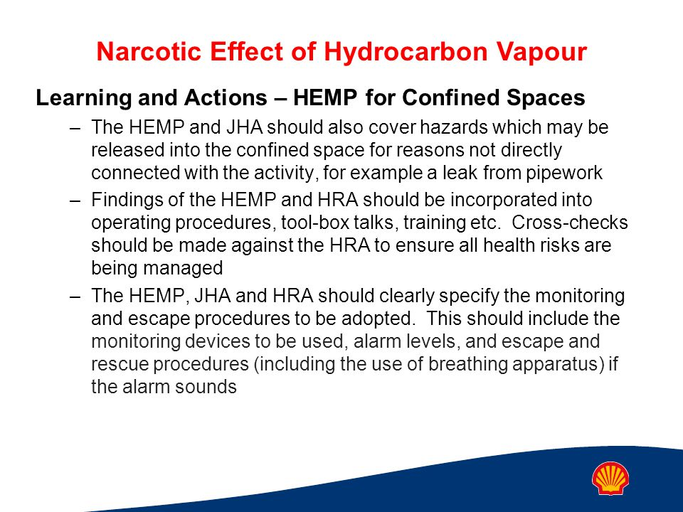 Learning and Actions – HEMP for Confined Spaces