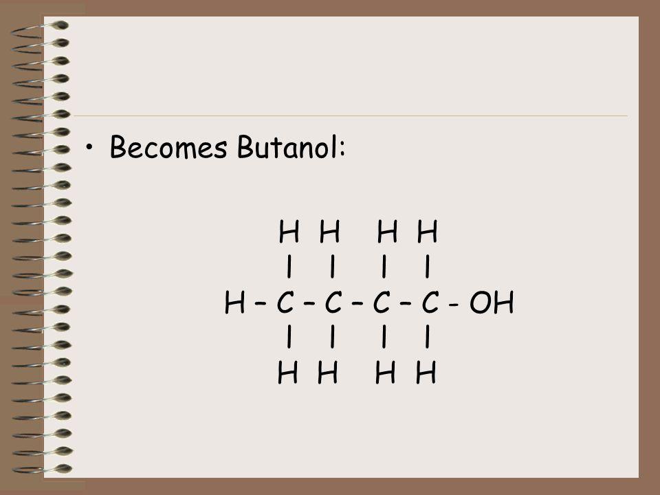Becomes Butanol: