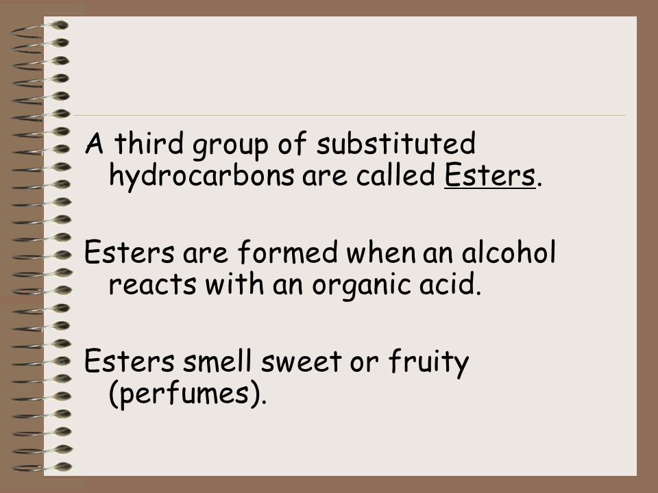 A third group of substituted hydrocarbons are called Esters.