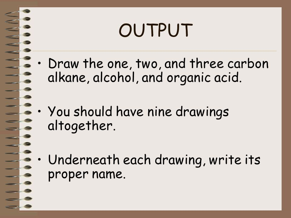 OUTPUT Draw the one, two, and three carbon alkane, alcohol, and organic acid. You should have nine drawings altogether.