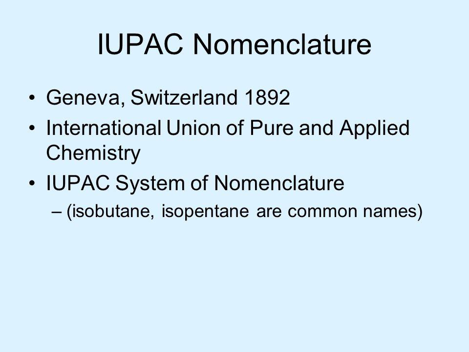 IUPAC Nomenclature Geneva, Switzerland 1892