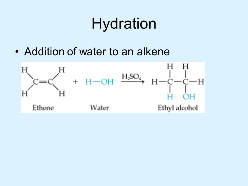 Hydration Addition of water to an alkene