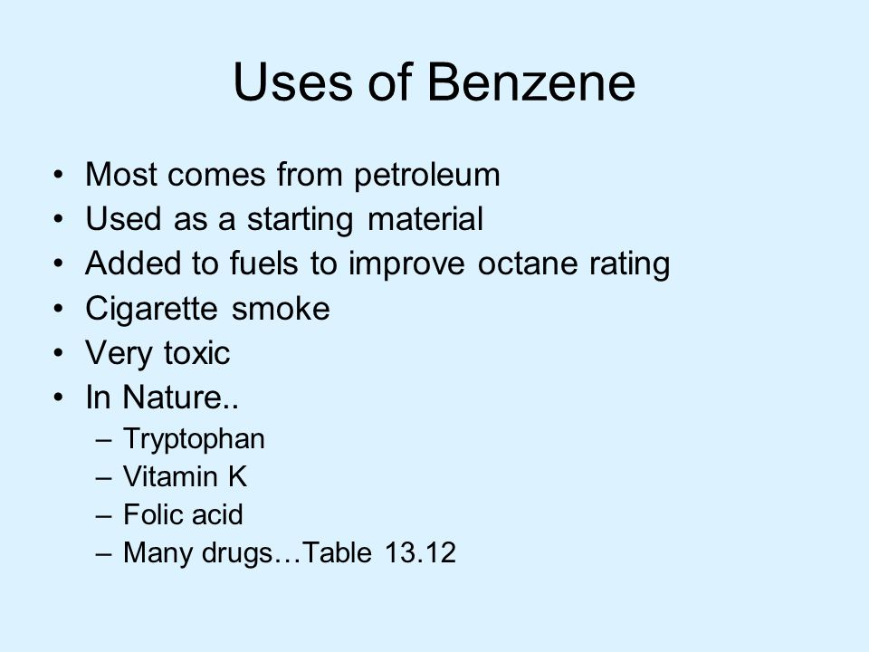 Uses of Benzene Most comes from petroleum Used as a starting material