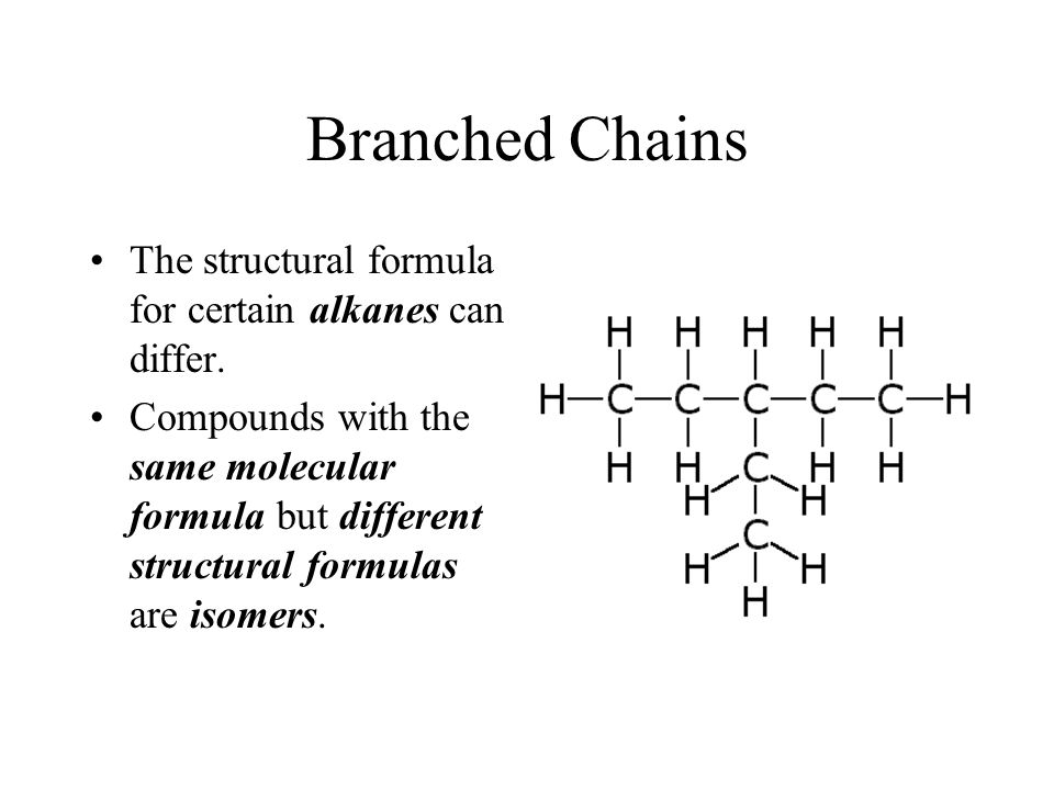 Branched Chains The structural formula for certain alkanes can differ.