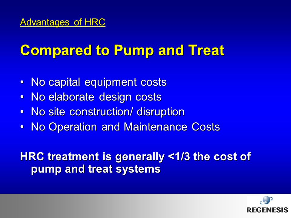 Compared to Pump and Treat