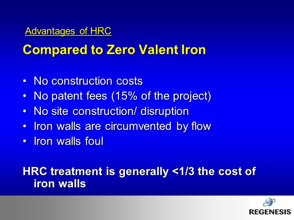 Compared to Zero Valent Iron