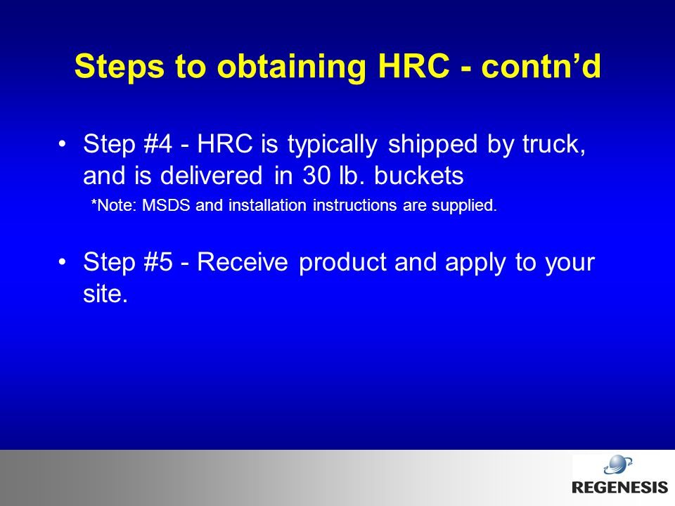 Steps to obtaining HRC - contn'd