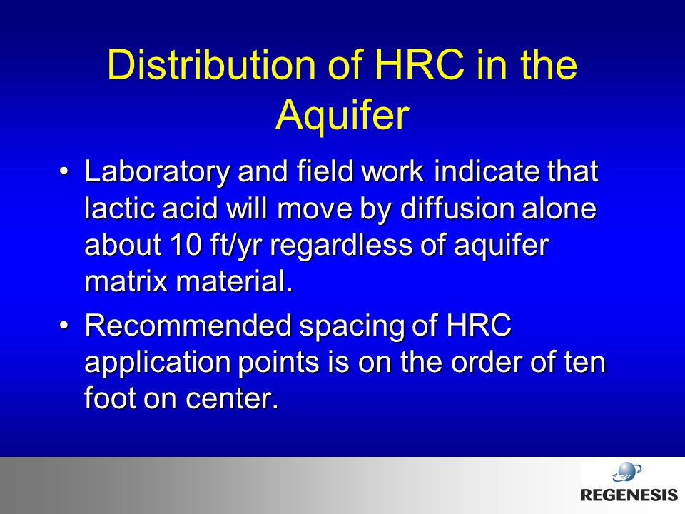 Distribution of HRC in the Aquifer