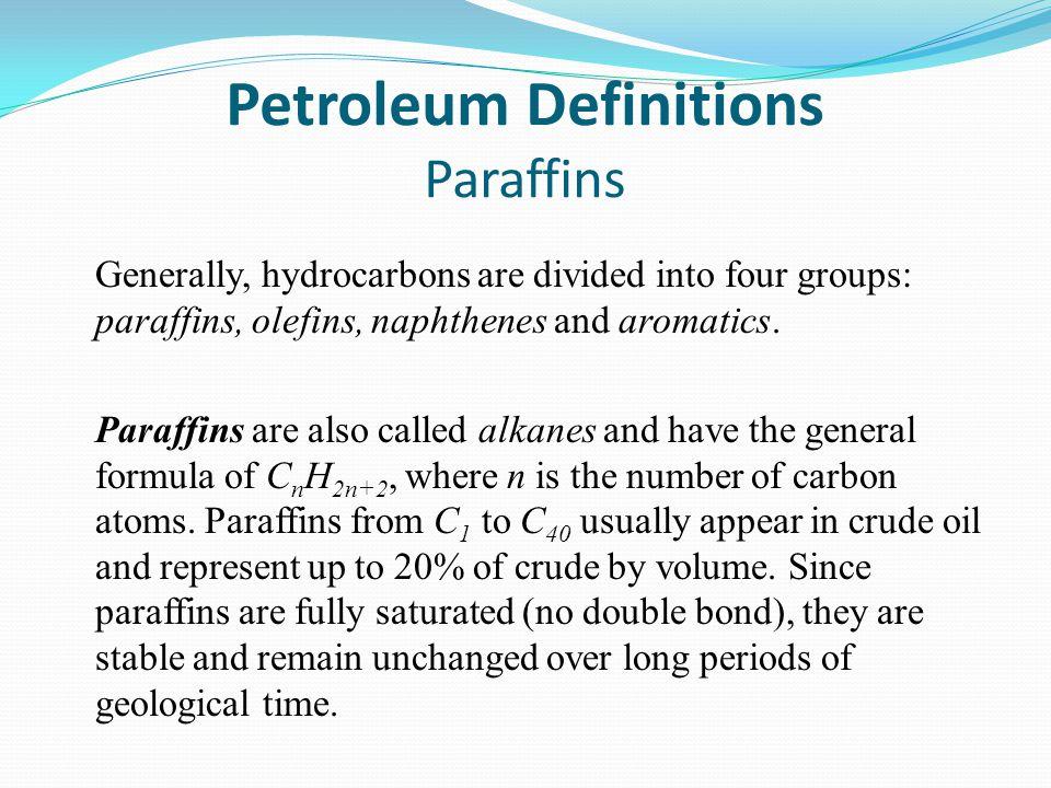 Petroleum Definitions Paraffins