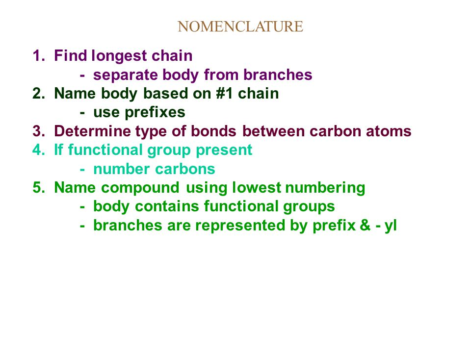 NOMENCLATURE 1. Find longest chain. - separate body from branches. 2. Name body based on #1 chain.
