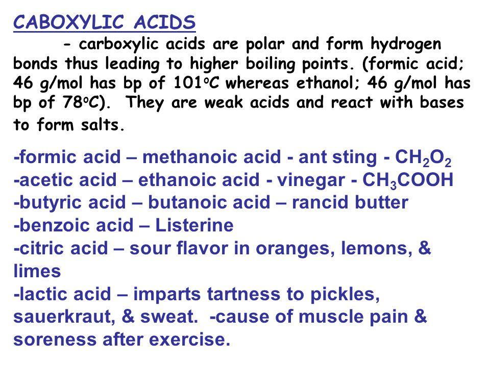 -formic acid – methanoic acid - ant sting - CH2O2