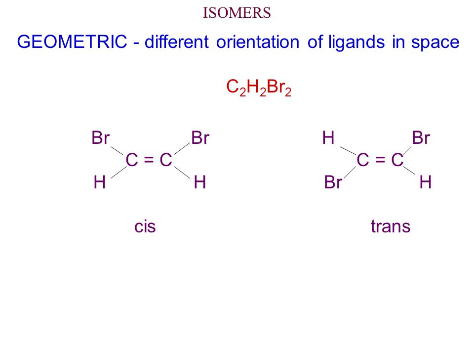 GEOMETRIC - different orientation of ligands in space C2H2Br2