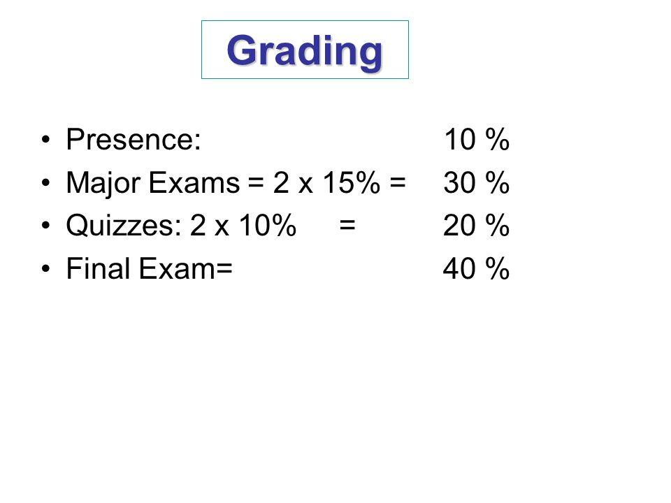 Grading Presence: 10 % Major Exams = 2 x 15% = 30 %