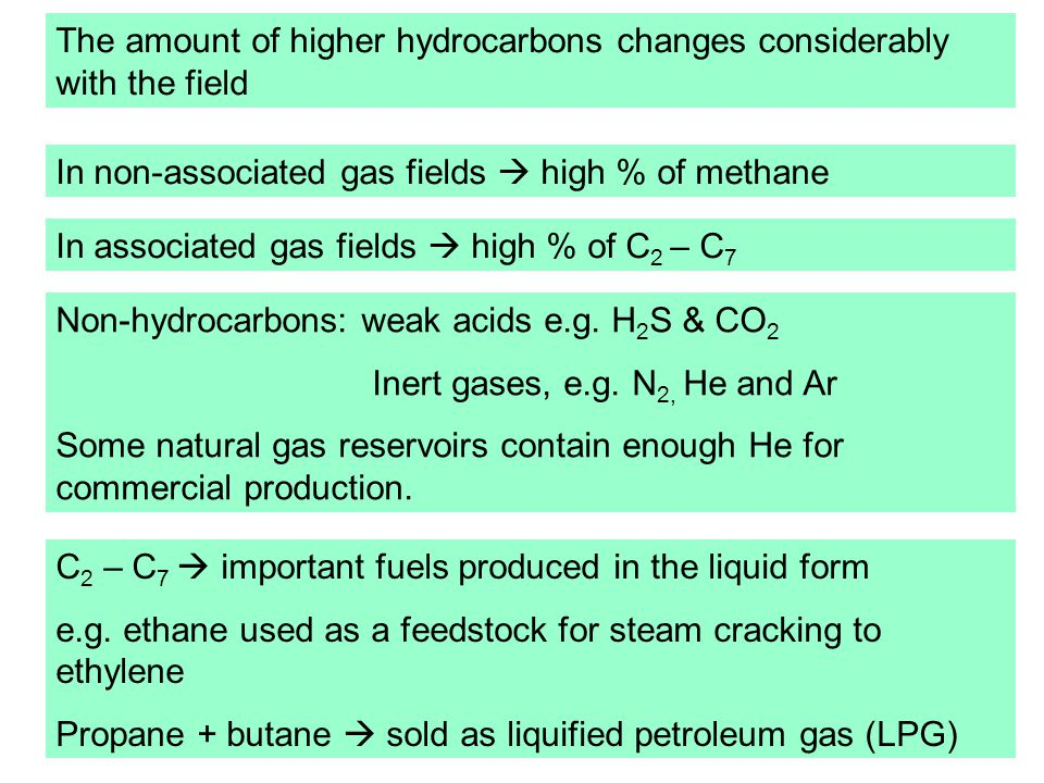 The amount of higher hydrocarbons changes considerably with the field