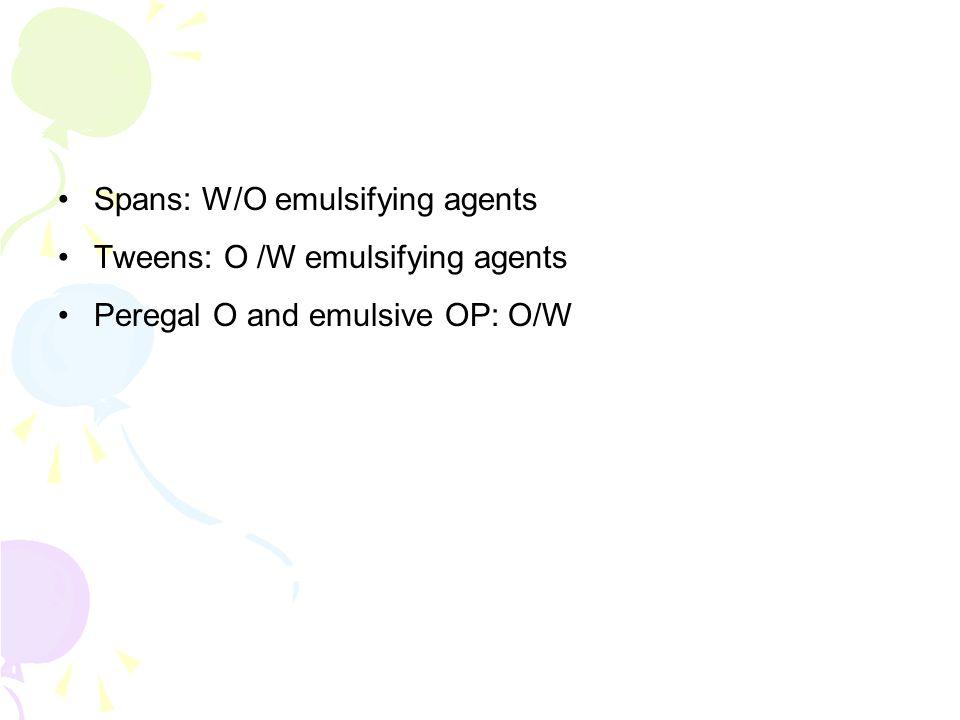 Spans: W/O emulsifying agents