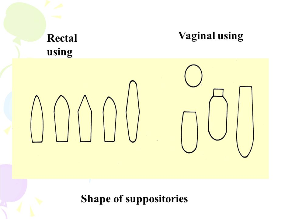 Rectal using Vaginal using Shape of suppositories