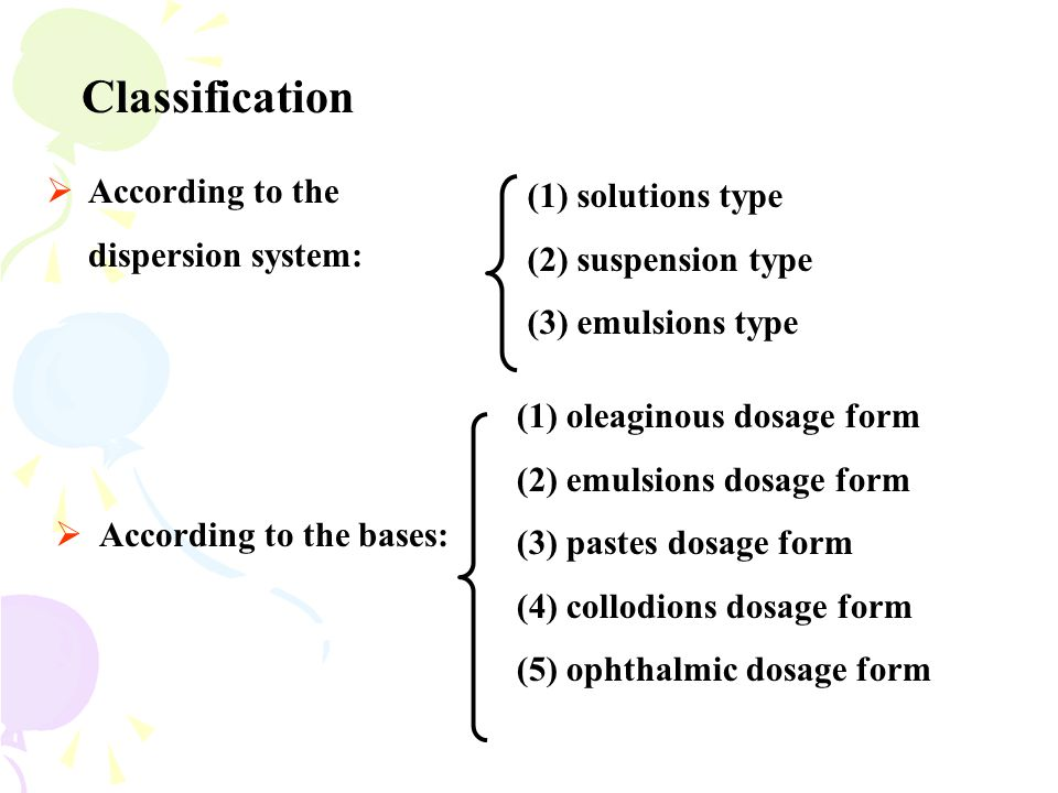 Classification According to the dispersion system: (1) solutions type