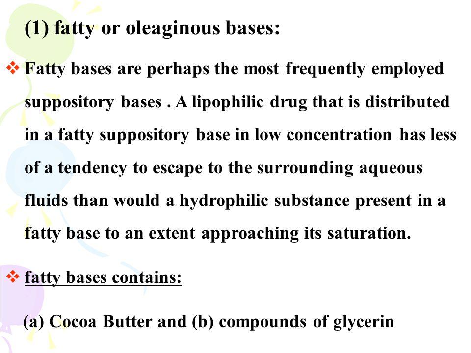 (1) fatty or oleaginous bases: