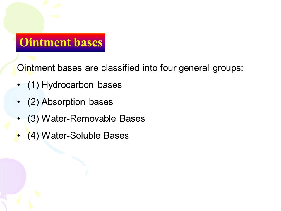 Ointment bases Ointment bases are classified into four general groups: