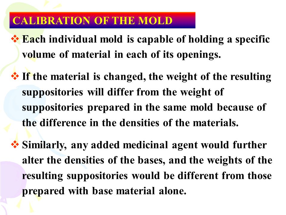 CALIBRATION OF THE MOLD