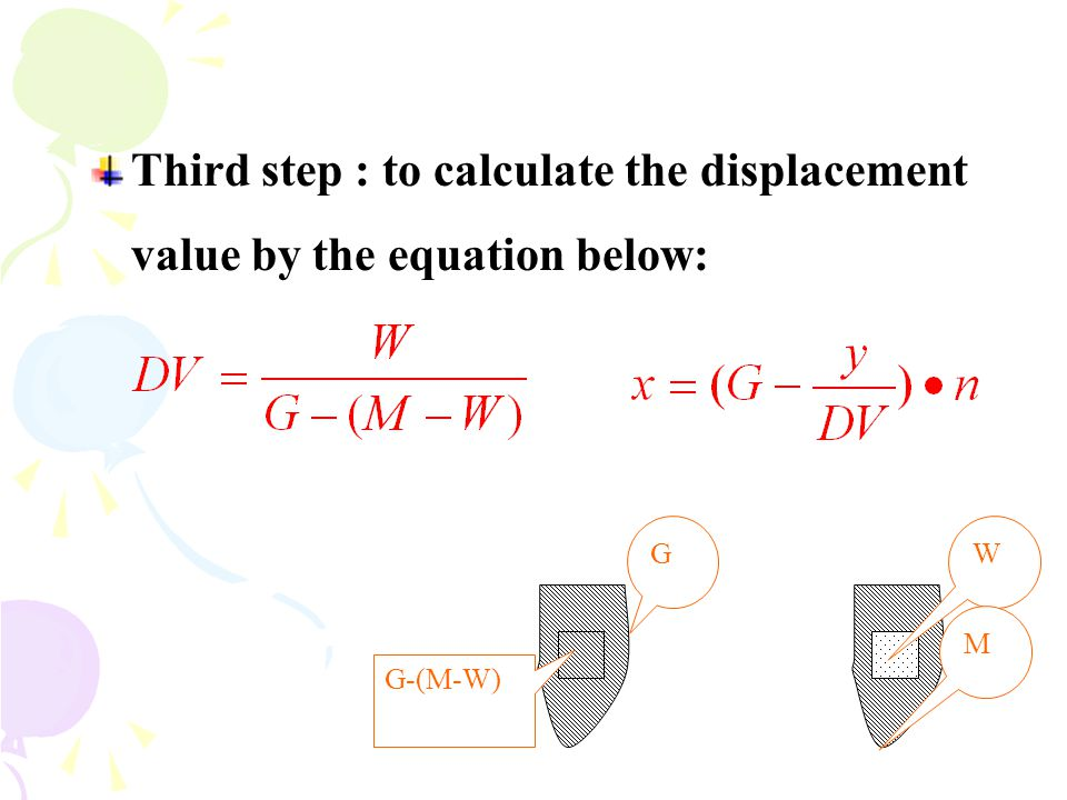 Third step : to calculate the displacement value by the equation below: