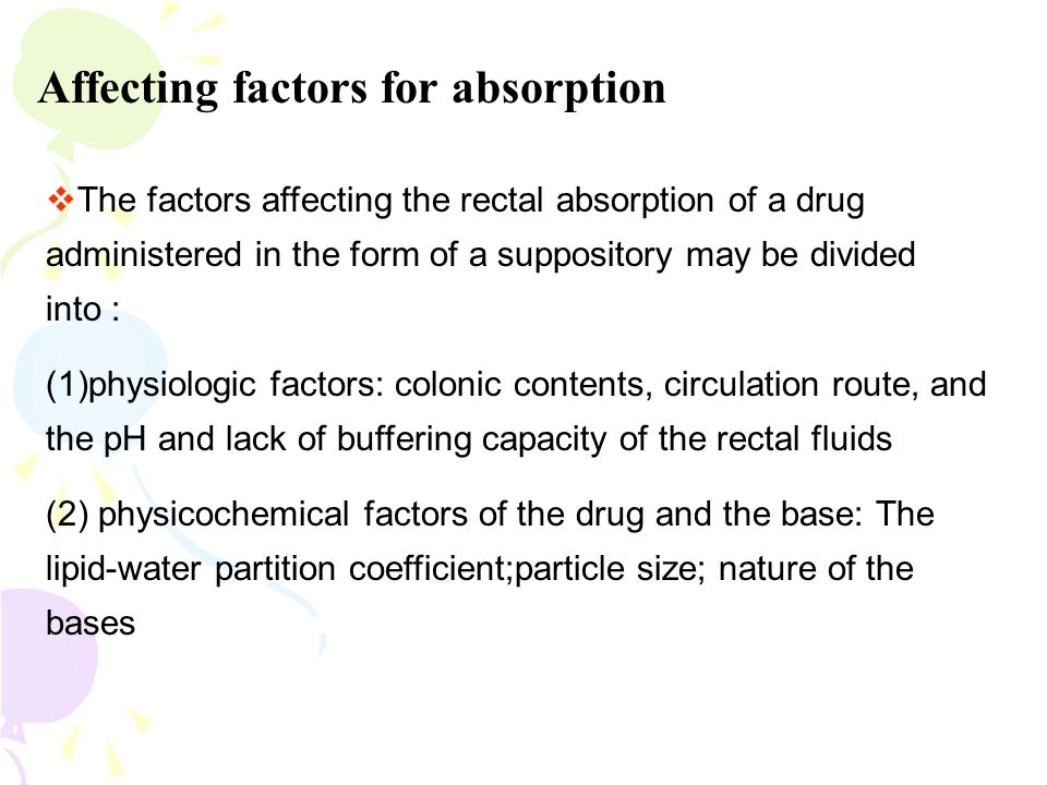 Affecting factors for absorption