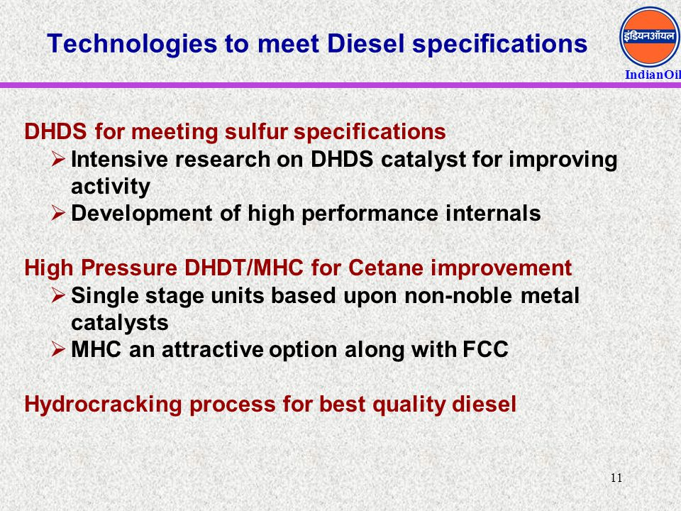 Technologies to meet Diesel specifications