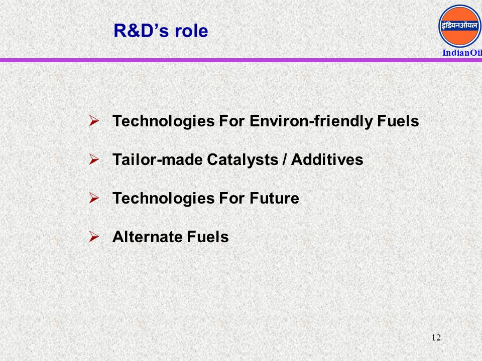 R&D's role Technologies For Environ-friendly Fuels
