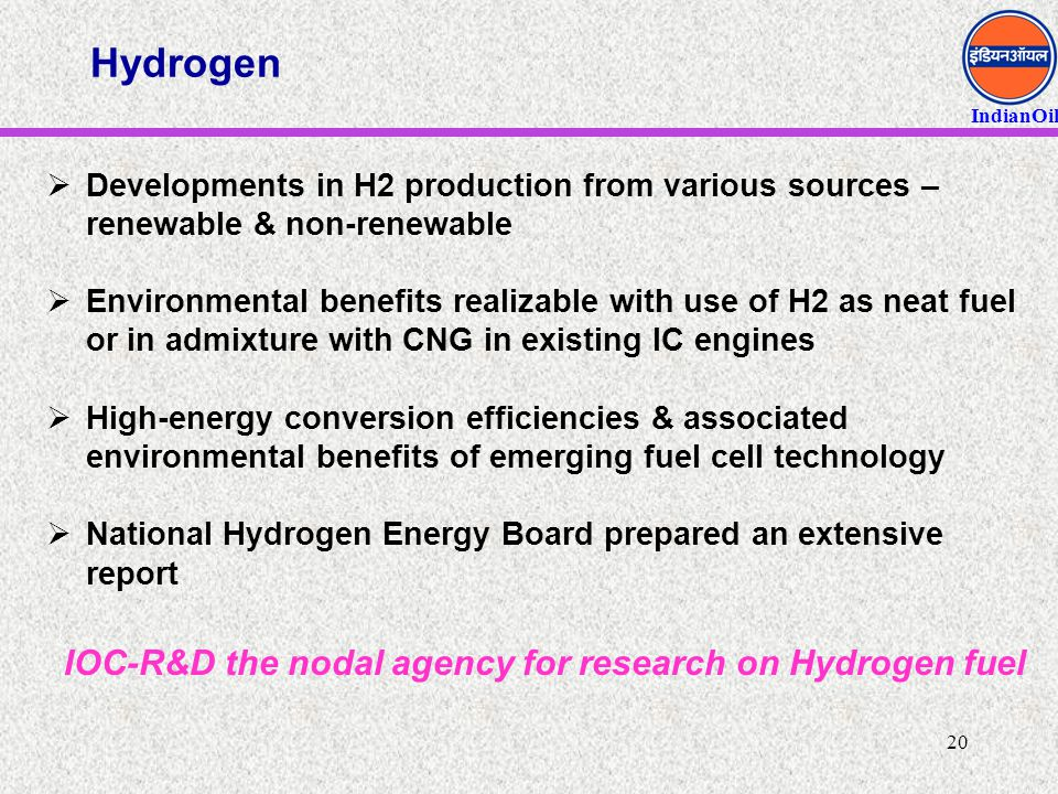Hydrogen IOC-R&D the nodal agency for research on Hydrogen fuel