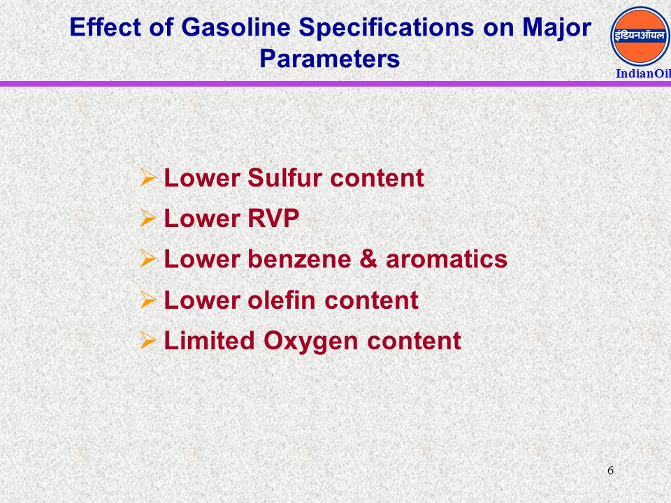 Effect of Gasoline Specifications on Major Parameters