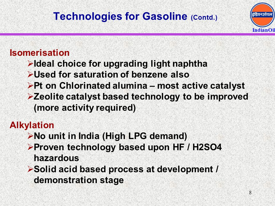 Technologies for Gasoline (Contd.)