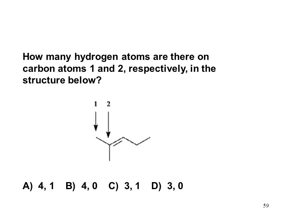How many hydrogen atoms are there on carbon atoms 1 and 2, respectively, in the structure below