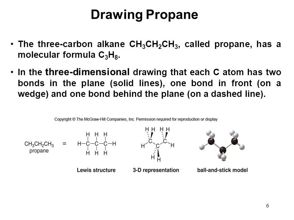 Drawing Propane The three-carbon alkane CH3CH2CH3, called propane, has a molecular formula C3H8.