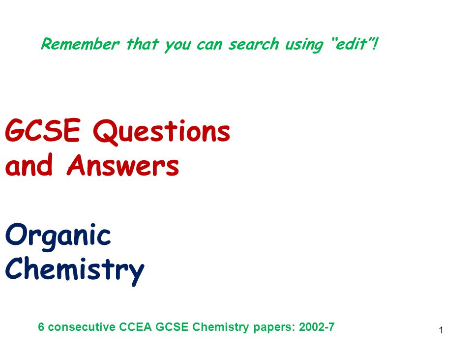 GCSE Questions and Answers