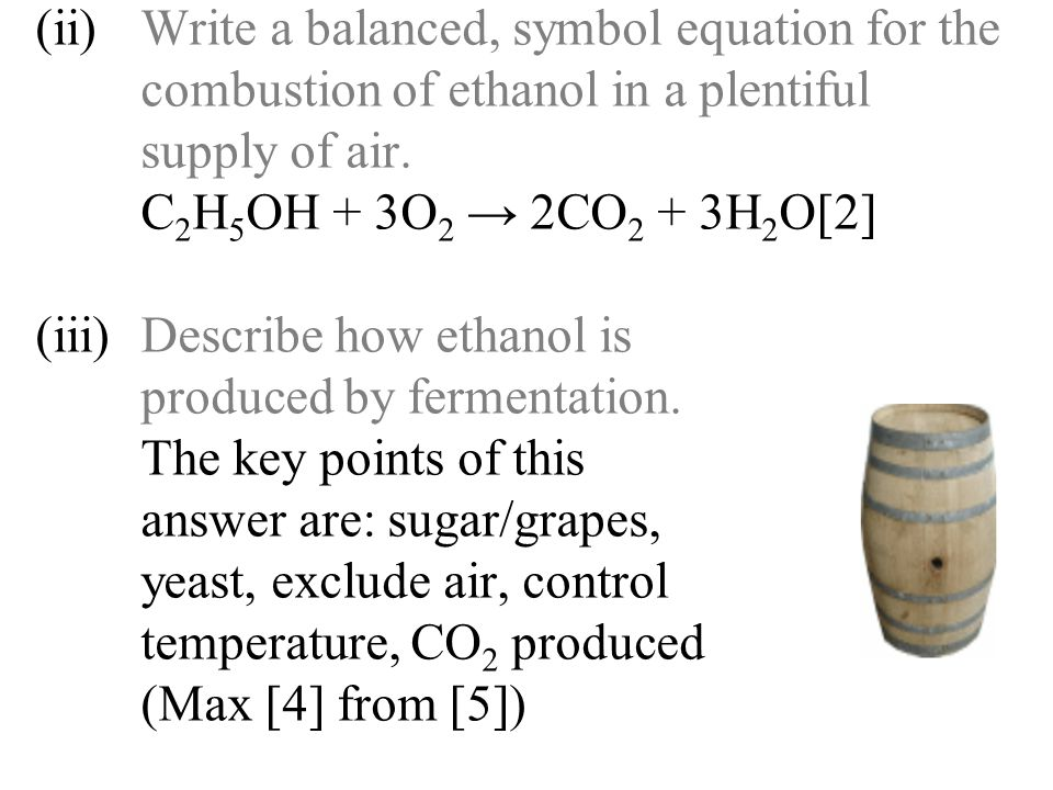 (ii). Write a balanced, symbol equation for the