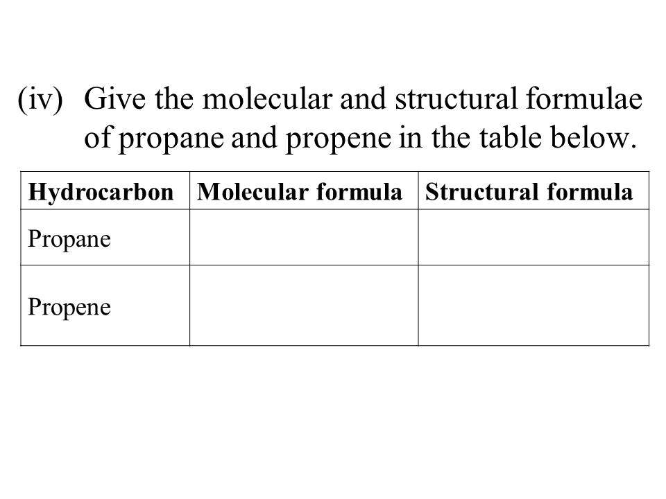 (iv). Give the molecular and structural formulae