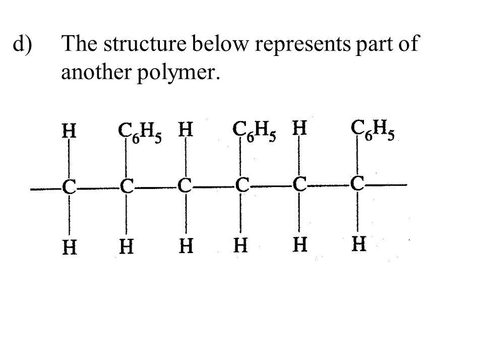 d) The structure below represents part of another polymer.