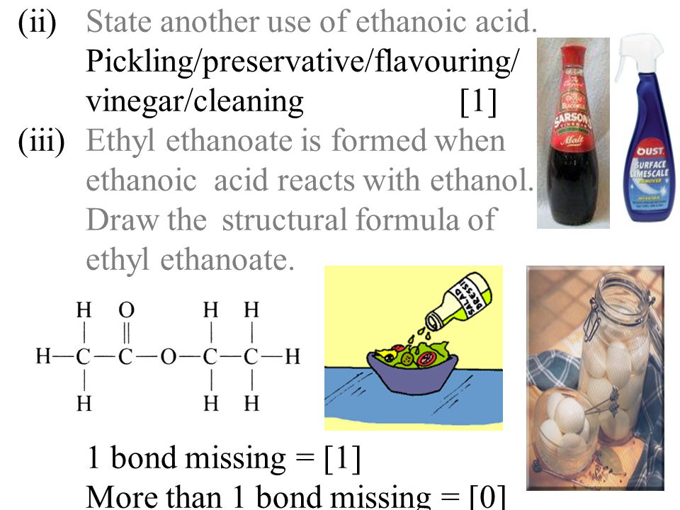 (ii). State another use of ethanoic acid