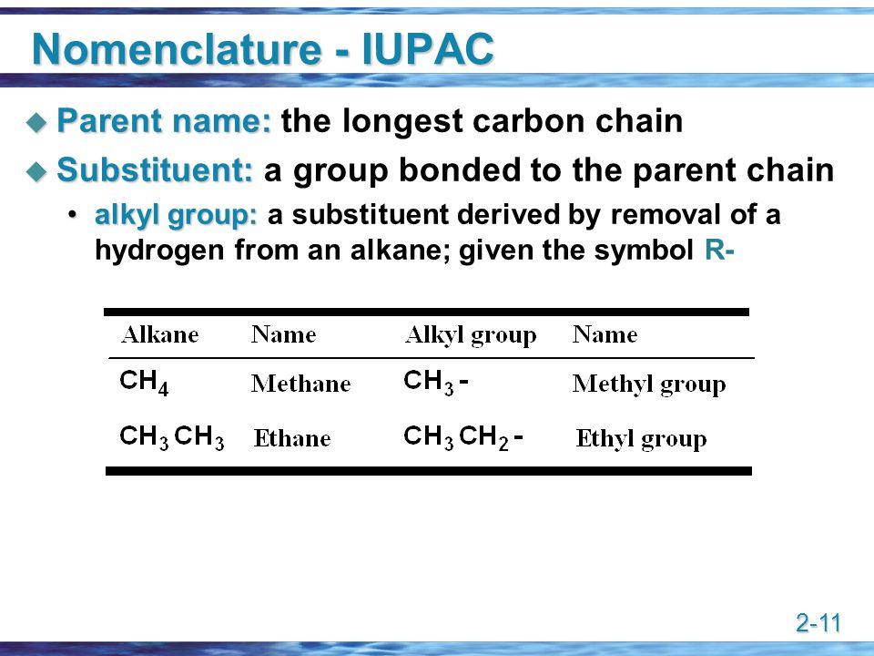Nomenclature - IUPAC Parent name: the longest carbon chain
